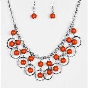 """Really Rococo"" Orange & Silver Necklace & Earring"